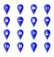 set blue map pointers with hotel services icons vector image vector image