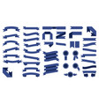 set of beautiful colored blue ribbons vector image
