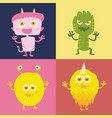 set of cute monster cartoon character 003 vector image