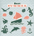 Set of green stickers with marine life vector image