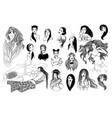 set of hand-drawn girls vector image vector image
