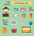 shopping set vector image vector image
