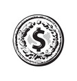 sketch old coin with dollar sign hand drawn vector image