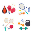 sports equipment set boxing gloves with punching vector image vector image