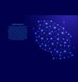 tanzania map of polygonal mosaic lines network vector image