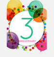 template 3 years anniversary congratulations vector image vector image