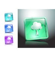 tree glass icons set color nature vector image vector image