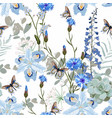 tropical blue flowers and leaves light background vector image vector image