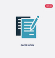 two color paper work icon from user interface vector image vector image