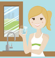 woman drinking water vector image vector image