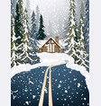 wood house winter snowy background fir trees road vector image vector image