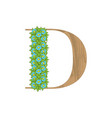 wooden leaves letter d vector image vector image