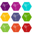wushu master icon set color hexahedron vector image vector image