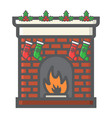 christmas fireplace filled outline icon new year vector image