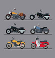 colorful motorcycles set with several models in vector image