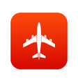 airplane icon digital red vector image vector image