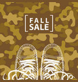 autumn sale banner with inscription and shoes vector image