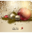 Beautiful Christmas background with red and golden vector image vector image