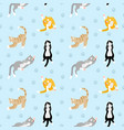 beautiful pattern with different breeds cats vector image vector image