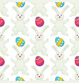 bunny and tulip spring holiday seamless pattern vector image