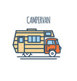 campervan thin line flat design vector image vector image