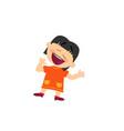 cartoon character of a cheerful asian girl vector image vector image