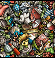 cartoon doodles france seamless pattern vector image