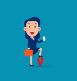 character with phone and pin gps concept vector image