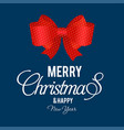 christmas card with red bow and blue background vector image