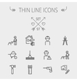 Construction thin line icon set vector image vector image