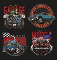 custom cars vintage colorful labels vector image