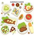 european cuisine collection dishes and vector image vector image