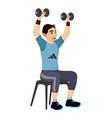 exercising man lifting dumbells vector image