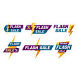 flash sale badges lightning bolt offer flashes vector image