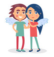 flirting couple smiling hold hands boy and girl vector image