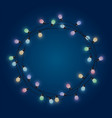 garland round frame from glowing bulb decorative vector image vector image