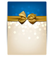 Greeting card with golden bow vector image
