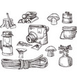 hand drown kit set of hiking camping equipment vector image vector image