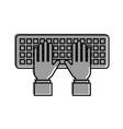 hand programmer typing keypad coding development vector image vector image