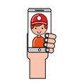hand with operator smartphone online shopping vector image vector image