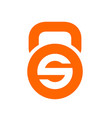 letter s and kettlebell logo icon orange color vector image vector image