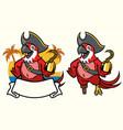 macaw bird pirate cartoon vector image vector image
