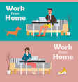 man and woman working on a laptop from home vector image