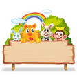 many animal on woodenboard vector image vector image