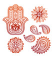 mehndi tattoo doodle elements with hamsa hand vector image