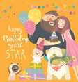 mom and dad celebrating their bafirst birthday vector image vector image