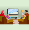 muslim family watching tv at home vector image vector image