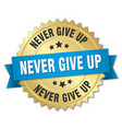 never give up round isolated gold badge vector image vector image