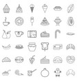 pancake icons set outline style vector image vector image