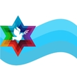 peace pigeon on background of blue waves vector image vector image